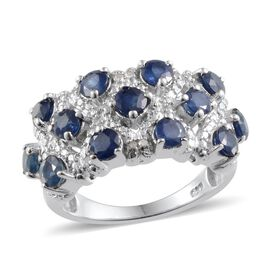 Kanchanaburi Blue Sapphire (Rnd), Diamond Ring in Platinum Overlay Sterling Silver 2.800 Ct.