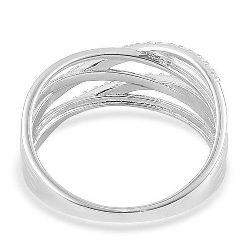 AAA Simulated White Diamond Criss Cross Ring in Rhodium Plated Sterling Silver