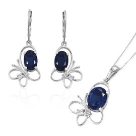 Ceylon Colour Quartz (Ovl), White Topaz Butterfly Pendant With Chain and Butterfly Lever Back Earrings in Platinum Overlay Sterling Silver 6.500 Ct.