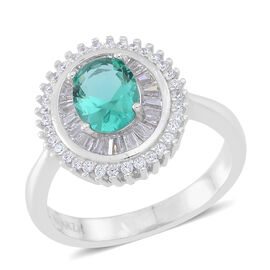 ELANZA AAA Simulated Paraiba Tourmaline (Ovl), Simulated White Diamond Ring in Rhodium Plated Sterling Silver