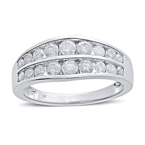 9K W Gold SGL Certified Diamond (Rnd) (I3/ G-H) Ring 1.000 Ct.