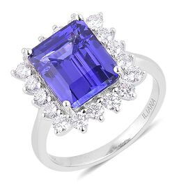 ILIANA 18K W Gold AAA Tanzanite (Oct 6.00 Ct), Diamond Ring 7.000 Ct.