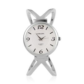 STRADA Japanese Movement White Dial Bangle Watch in Silver Tone with Stainless Steel Back