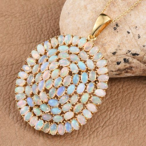 Ethiopian Welo Opal (Ovl) Cluster Pendant With Chain in 14K Gold Overlay Sterling Silver 12.750 Ct.