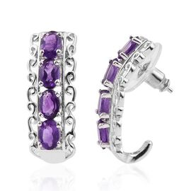 Amethyst (Ovl) J Hoop Earrings (with Push Back) in ION Plated Platinum Bond 3.250 Ct.