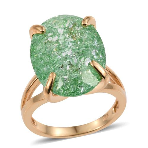Emerald Green Crackled Quartz (Ovl) Ring in 14K Gold Overlay Sterling Silver 16.500 Ct.