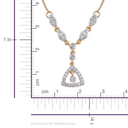 Diamond 0.30 Carat Silver Necklace (Size 20) in 14K Gold Overlay.