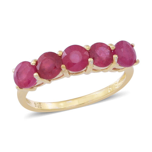 African Ruby (Rnd) 5 Stone Ring in 14K Gold Overlay Sterling Silver 2.500 Ct.