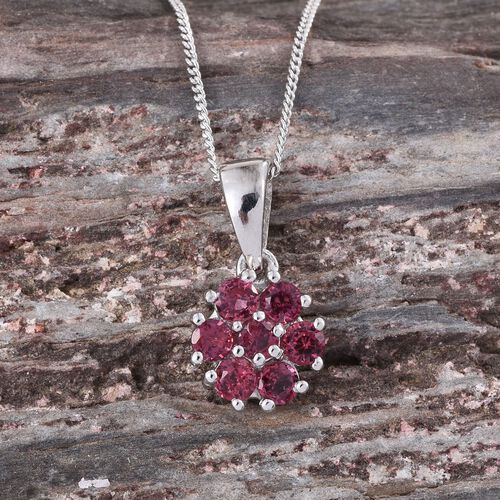Mahenge Spinel (Rnd) 7 Stone Floral Pendant With Chain in Platinum Overlay Sterling Silver 0.750 Ct.