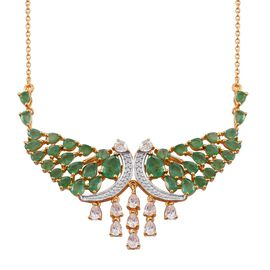 Kagem Zambian Emerald (Pear), Natural Cambodian Zircon Crown Necklace (Size 18) in 14K Gold Overlay Sterling Silver 10.000 Ct.