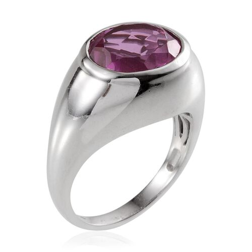 Kunzite Colour Quartz (Ovl) Solitaire Ring in Platinum Overlay Sterling Silver 5.750 Ct.