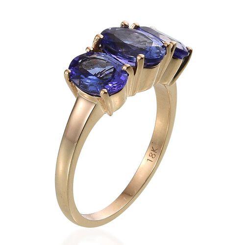 ILIANA 18K Y Gold AAA Tanzanite (Ovl 1.50 Ct) 3 Stone Ring 3.500 Ct.