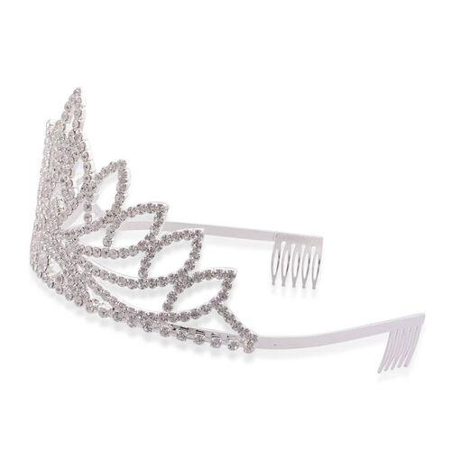 White Austrian Crystal Tiara in Silver Tone