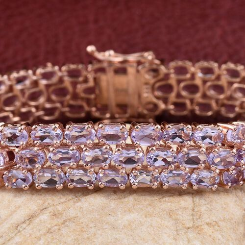 Rose De France Amethyst (Ovl) Bracelet (Size 7.5) in Rose Gold Overlay Sterling Silver 23.250 Ct.