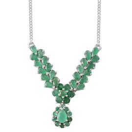 Kagem Zambian Emerald (Pear 0.50 Ct) Necklace (Size 18) in Platinum Overlay Sterling Silver 7.000 Ct.