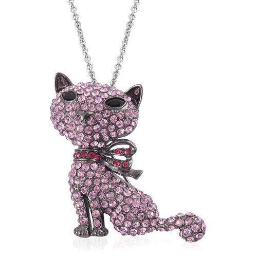 Pink and Multi Colour Austrian Crystal Cat Pendant in Black Tone with Stainless Steel Chain (Size 24)