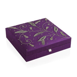 Leaves Embroidered Purple Colour Stackable 100 Slot Ring Jewellery Box (Size 26x26x6 Cm)