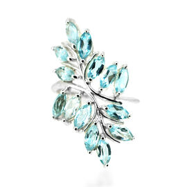 Sky Blue Topaz (Mrq) Leaves Ring in Rhodium Plated Sterling Silver 4.200 Ct.