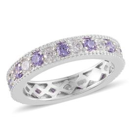 AAA Simulated Tanzanite (Rnd), Simulated Diamond Full Eternity Ring in Platinum Overlay Sterling Silver