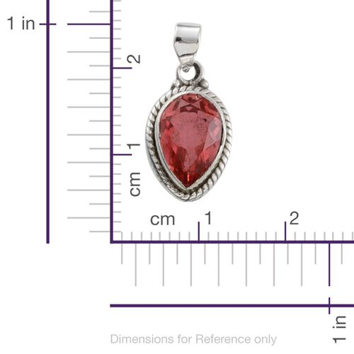 Jewels of India Padparadscha Colour Quartz (Pear) Solitaire Pendant in Sterling Silver 6.010 Ct.