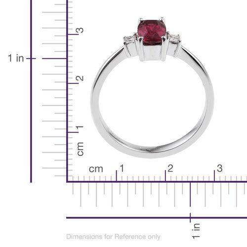 ILIANA 18K White Gold 1.25 Carat AAA Rubelite Cushion, Diamond SI G-H Ring.