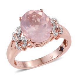 GP Rose Quartz (Ovl 4.20 Ct), Kanchanaburi Blue Sapphire Ring in Rose Gold Overlay Sterling Silver 4.250 Ct.