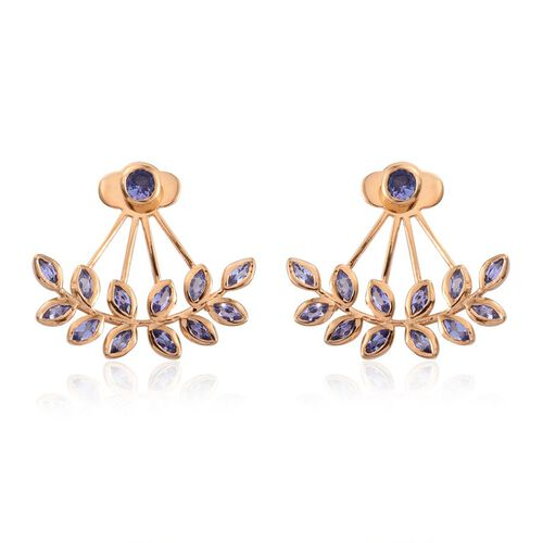 Tanzanite (Rnd) Jacket Earrings (with Push Back) in 14K Gold Overlay Sterling Silver 2.250 Ct.