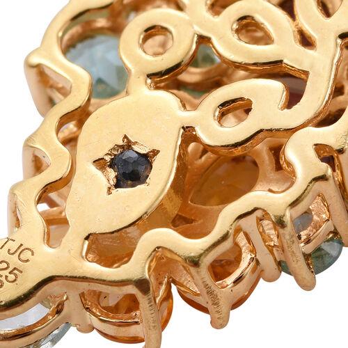 GP Paraiba Apatite, Rhodolite Garnet, Citrine, Hebei Peridot, White Topaz, Kanchanaburi Blue Sapphire and Multi Gem Stone Floral Earrings(with Push Back) in 14K Gold Overlay Sterling Silver 12.250 Ct.