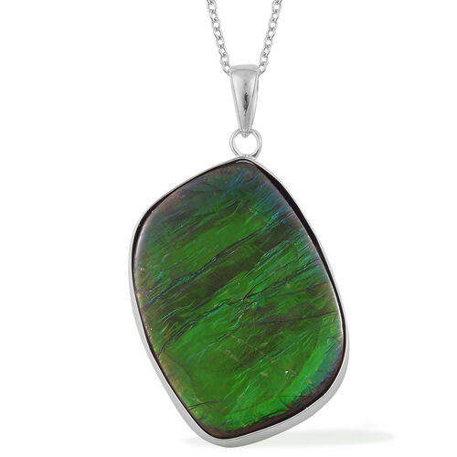 Canadian Ammolite Pendant With Chain in Rhodium Plated Sterling Silver 20.830 Ct.