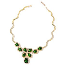 Simulated Emerald and White Austrian Crystal Necklace (Size 18 with 1 inch Extender) in Yellow Gold Tone