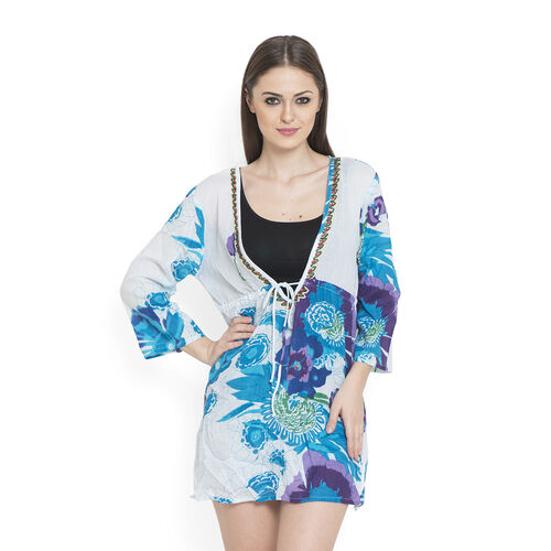 100% Cotton Turquoise and Multi Colour Flowers Embroidered White Colour Beach Cover up and Poncho (Size 75x50 Cm)