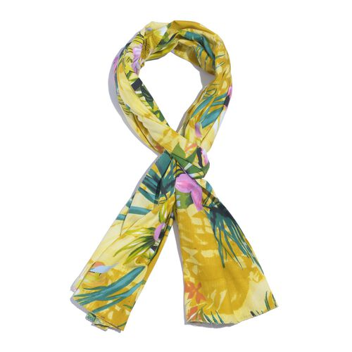 100% Natural Bamboo Fabric Multi Colour Leaf and Floral Pattern Yellow Colour Scarf (Size 180x50 Cm)