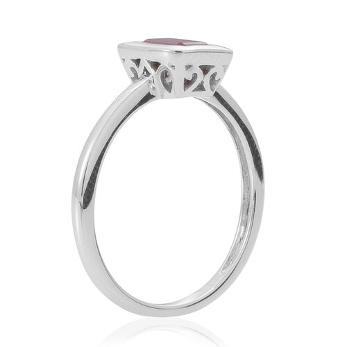 9K W Gold Burmese Ruby (Oct) Solitaire Ring 1.000 Ct.