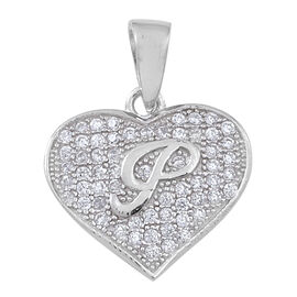 ELANZA - Micro Pave Set AAA Simulated White Diamond (Rnd) Initial P Pendant in Rhodium Plated Sterling Silver