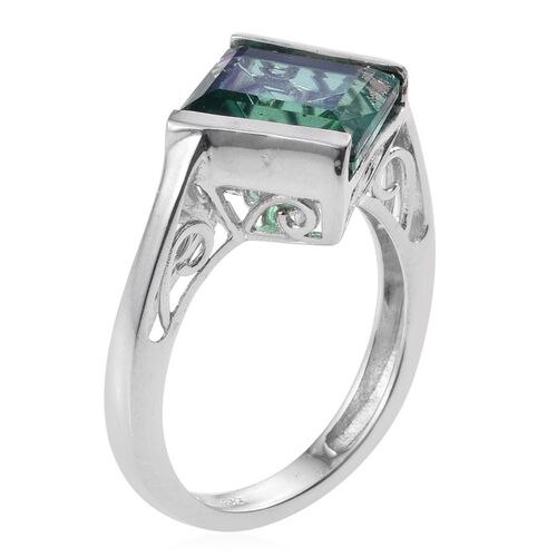 Peacock Quartz (Sqr) Solitaire Ring in Platinum Overlay Sterling Silver 5.750 Ct.