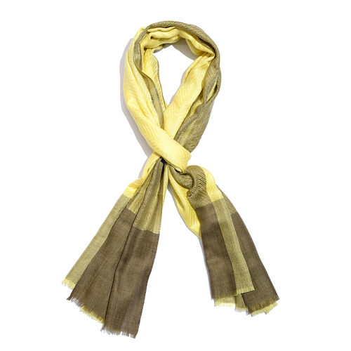 100% Cashmere Wool Canary Yellow Colour Scarf (Size 200x70 Cm)