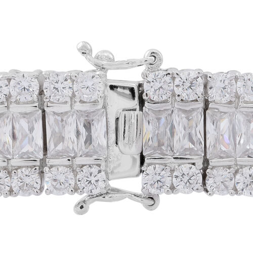 ELANZA AAA Simulated White Diamond (Oct) Bracelet (Size 7.5) in Rhodium Plated Sterling Silver Wt. 33.89 Gms