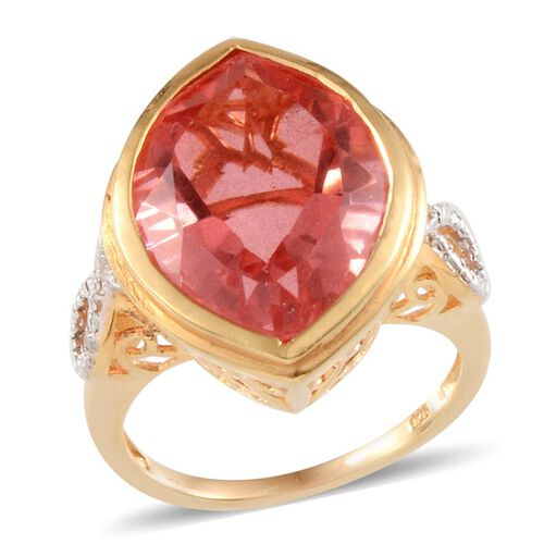 Padparadscha Colour Quartz (Mrq 17.75 Ct), Diamond Ring in 14K Gold Overlay Sterling Silver 17.790 Ct.