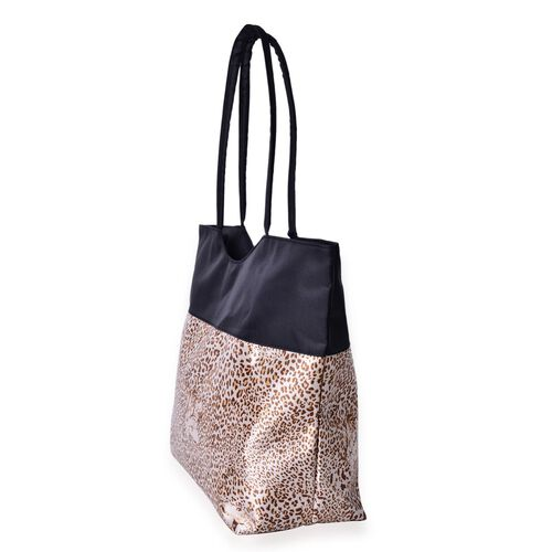 Leopard Pattern Black and Brown Colour Tote Bag (Size 52X38X32X15.5 Cm)