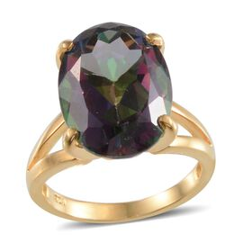 Northern Lights Mystic Topaz (Ovl) Solitaire Ring in 14K Gold Overlay Sterling Silver 15.500 Ct.