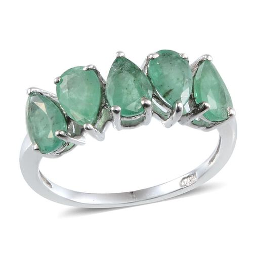 Kagem Zambian Emerald (Pear) 5 Stone Ring in Platinum Overlay Sterling Silver 1.750 Ct.