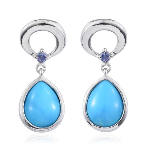 Arizona Sleeping Beauty Turquoise (Pear), Tanzanite Earrings (with Push Back) in Platinum Overlay Sterling Silver 2.500 Ct.