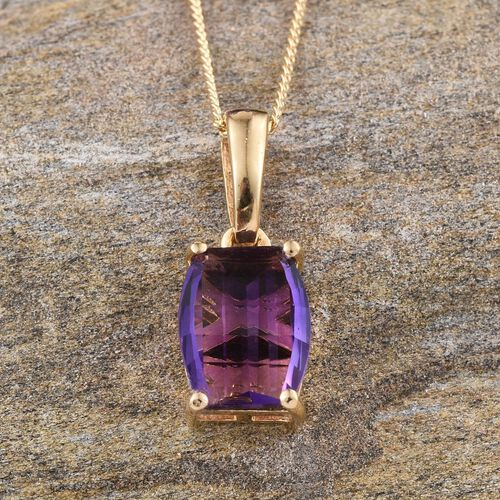 Amethyst Solitaire Pendant With Chain in 14K Gold Overlay Sterling Silver 2.000 Ct.