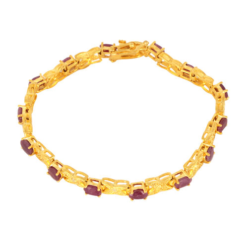 Burmese Ruby (Ovl), Diamond Bracelet in Gold Tone (Size 7.5) 7.152 Ct.