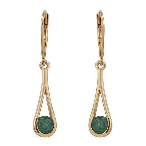 Kagem Zambian Emerald (Rnd) Lever Back Earrings in 14K Gold Overlay Sterling Silver 1.000 Ct.