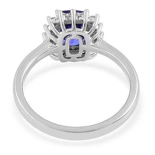 ILIANA 18K White Gold AAA Tanzanite (Cush 2.00 Ct), Diamond (SI/G-H) Halo Ring 2.250 Ct.