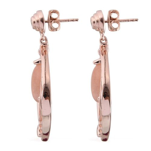 Morogoro Peach Sunstone (Pear), White Topaz Earrings (with Push Back) in Rose Gold Overlay Sterling Silver 6.750 Ct.