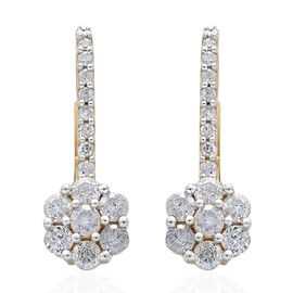 9K Yellow Gold 1 Carat Diamond Floral Lever Back Earrings SGL Certified I3 G-H