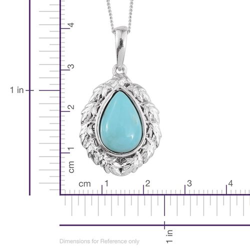 Sonoran Turquoise (Pear) Solitaire Pendant With Chain in Platinum Overlay Sterling Silver 2.250 Ct.