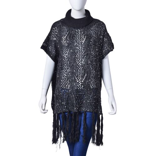 Black Colour Wavy Pattern High Neck Design Knitted Poncho with Tassels (Size 70X60 Cm)